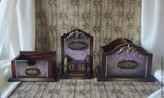 """Шкатулки ручной работы. Ярмарка Мастеров - ручная работа. Купить Набор для письменного стола """"Генерал"""". Handmade. Бордовый, письменный набор"""