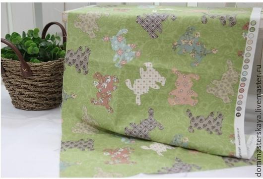 Шитье ручной работы. Ярмарка Мастеров - ручная работа. Купить 100% хлопок Корея, зайцы на зеленом. Handmade. Зеленый, буквы