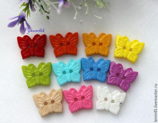 Шитье ручной работы. Ярмарка Мастеров - ручная работа. Купить Пуговицы бабочки 18х14 мм 12 цветов. Handmade. Пуговицы
