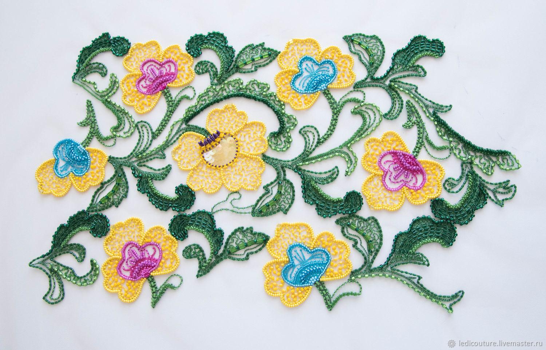 Люневильская вышивка желтые цветы, Аппликации, Минск,  Фото №1