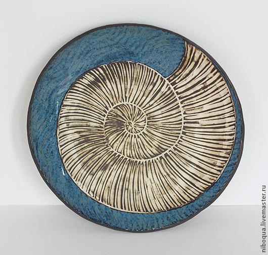 Тарелки ручной работы. Ярмарка Мастеров - ручная работа. Купить Керамическая тарелка Ammonite. Handmade. Тарелка керамическая, морская тема