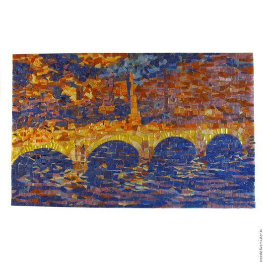"""Репродукции ручной работы. Ярмарка Мастеров - ручная работа. Купить Мозаичное панно """"Клод Монэ """"Мост Ватерлоо.Эффект солнечного света"""". Handmade."""