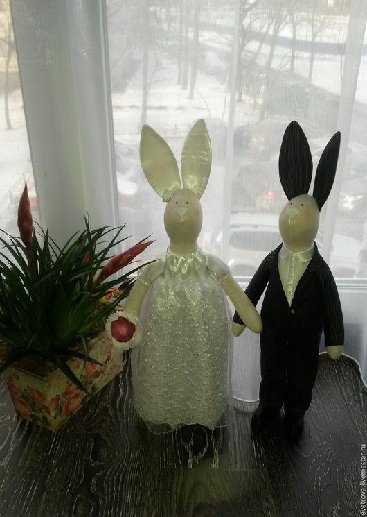 Куклы Тильды ручной работы. Ярмарка Мастеров - ручная работа. Купить Свадебные зайцы Тильда. Handmade. Комбинированный, подарок на годовщину