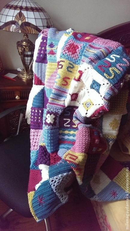 """Текстиль, ковры ручной работы. Ярмарка Мастеров - ручная работа. Купить Плед """"Чудесное кантри"""". Handmade. Разноцветный, плед вязаный"""