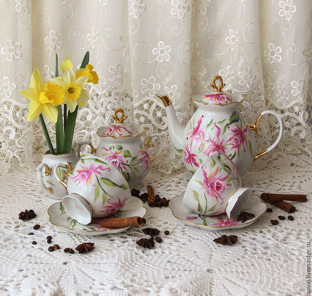 Set painted double smear 'Orchids', Tea & Coffee Sets, ,  Фото №1