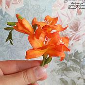 Украшения handmade. Livemaster - original item Flaming flower brooch with freesia. Handmade.
