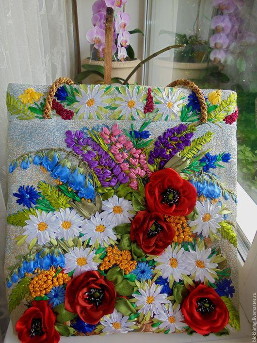 Женские сумки ручной работы. Ярмарка Мастеров - ручная работа. Купить Летнее настроение-2. Handmade. Голубой, Вышивка лентами