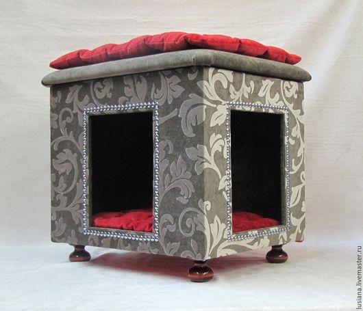 Аксессуары для кошек, ручной работы. Ярмарка Мастеров - ручная работа. Купить Пуфик и домик для собаки или кошки. Handmade.