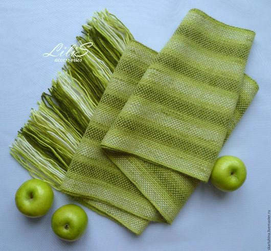"""Шарфы и шарфики ручной работы. Ярмарка Мастеров - ручная работа. Купить Шарф домотканый  """"Зеленое яблоко"""". Handmade. Зеленый"""