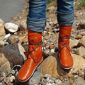 """Обувь ручной работы. Ярмарка Мастеров - ручная работа Кожаные мокасины """"Hippie Orange"""". Handmade."""