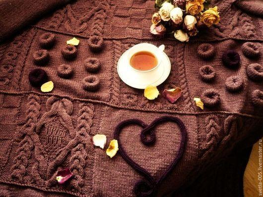Текстиль, ковры ручной работы. Ярмарка Мастеров - ручная работа. Купить Плед Счастливое сердце. Handmade. Коричневый, плед спицами