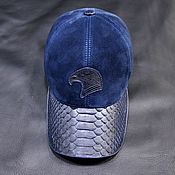 Аксессуары handmade. Livemaster - original item Men`s baseball caps, made of genuine python leather, in combination with suede.. Handmade.