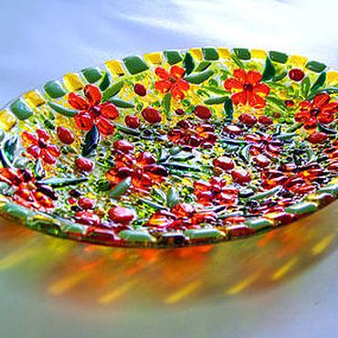 """Посуда ручной работы. Ярмарка Мастеров - ручная работа Набор посуды из стекла, фьюзинг """"Ах, лето!"""". Handmade."""