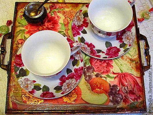 """Кухня ручной работы. Ярмарка Мастеров - ручная работа. Купить Поднос """"Good morning"""". Handmade. Комбинированный, подарок на новый год"""