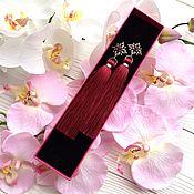 Украшения ручной работы. Ярмарка Мастеров - ручная работа Серьги-кисти Precious burgundy бордовые винные марсала темно-красные. Handmade.