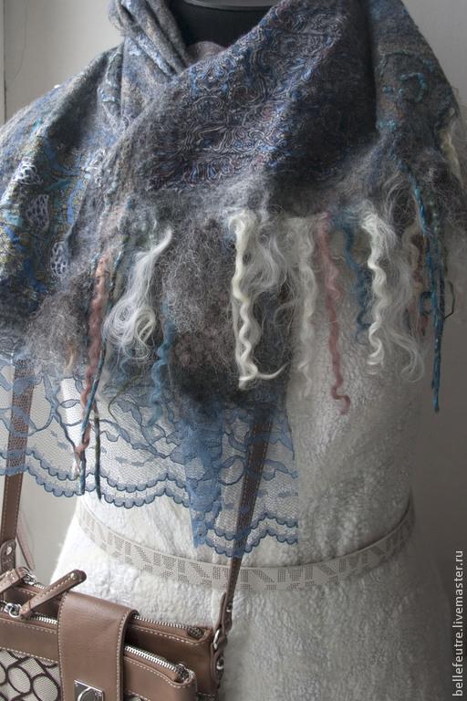 """Шали, палантины ручной работы. Ярмарка Мастеров - ручная работа. Купить Валяный шарф-палантин """"Фантазия"""". Handmade. Серый"""