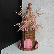 Подарки к праздникам ручной работы. Ярмарка Мастеров - ручная работа Упаковка для бутылки из бумажной лозы Мельница розовая. Handmade.