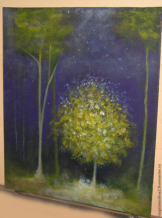 Пейзаж ручной работы. Ярмарка Мастеров - ручная работа. Купить Картина  Луч  света   в  лесу ночь дерево резерв. Handmade.