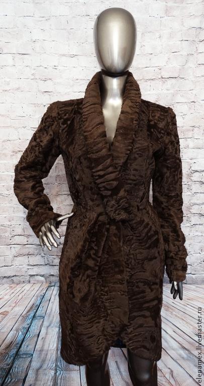 Верхняя одежда ручной работы. Ярмарка Мастеров - ручная работа. Купить Пальто из каракуля swakara сур. Handmade. Коричневый, swakara