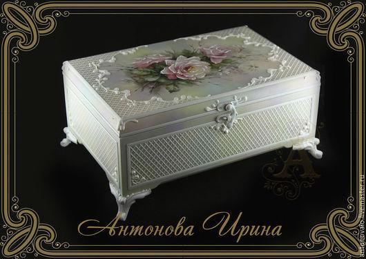 Шкатулка-`Розы-2`,для дома ручной работы.Антонова Ирина.Ярмарка Мастеров.