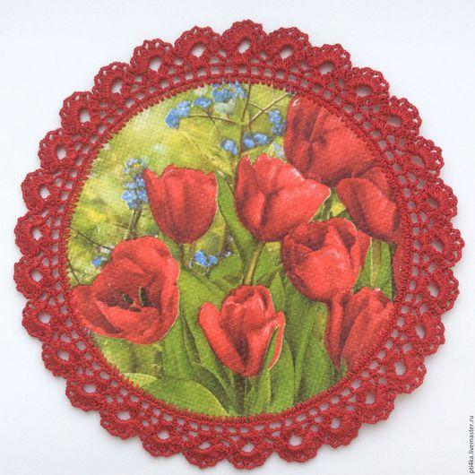 """Картины цветов ручной работы. Ярмарка Мастеров - ручная работа. Купить Панно салфетка """"Тюльпаны"""", имитация вышивки. Handmade. Комбинированный"""