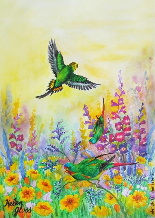 """Животные ручной работы. Ярмарка Мастеров - ручная работа. Купить Картина """"Солнечный день"""". Handmade. Сиреневый, вечер, восход, полет"""
