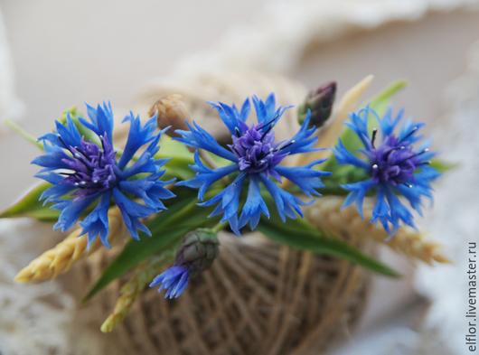 Заколки ручной работы. Ярмарка Мастеров - ручная работа. Купить Заколка с васильками. Handmade. Заколка для волос, полевые цветы, синий