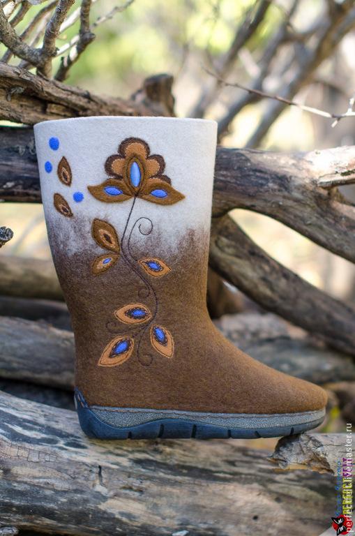 """Обувь ручной работы. Ярмарка Мастеров - ручная работа. Купить Сапожки из войлока """"Любава"""". Handmade. Белый, Сапожки, цветочный принт"""