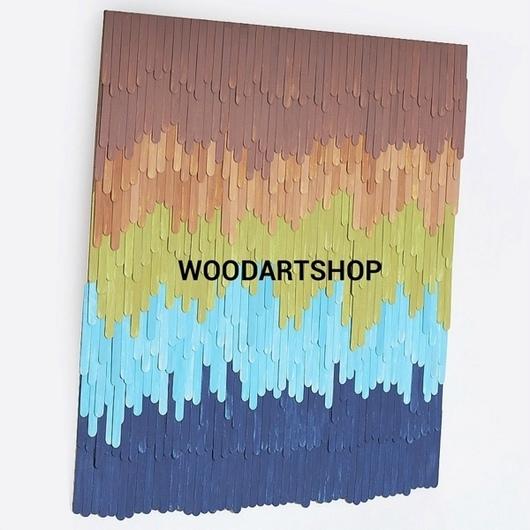 Абстракция ручной работы. Ярмарка Мастеров - ручная работа. Купить Панно из деревянных шпателей (80х80). Handmade. Панно, панно в подарок