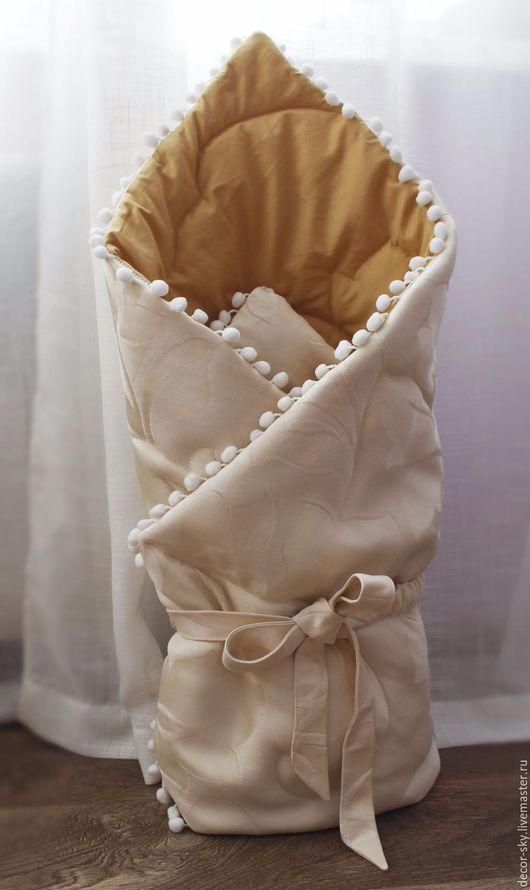 Для новорожденных, ручной работы. Ярмарка Мастеров - ручная работа. Купить Одеяло на выписку. Handmade. Бежевый, конверт на выписку