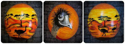 """Яйца ручной работы. Ярмарка Мастеров - ручная работа. Купить Расписное страусиное яйцо  """"Сафари"""". Handmade. Сафари, африка, оранжевый"""