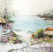 Картина маслом Солнечное побережье, размер 70х100см