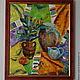 """Натюрморт ручной работы. Картина """"Сочное настроение"""". Валерия. Интернет-магазин Ярмарка Мастеров. Оранжевый, фиолетовый, кувшин, глиняный горшок"""