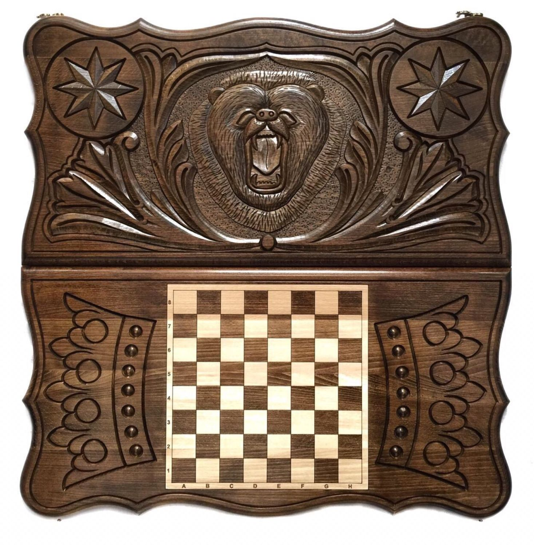 Backgammon carved handmade 'Bear' Art. .024, Backgammon checkers, Moscow,  Фото №1