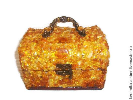 Шкатулки ручной работы. Ярмарка Мастеров - ручная работа. Купить Шкатулка для украшений янтарная, для драгоценностей, бижутерии, оранж.. Handmade. Оранжевый