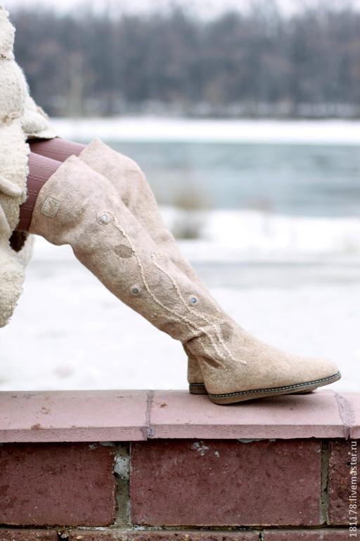 """Обувь ручной работы. Ярмарка Мастеров - ручная работа. Купить Ботфорты """"Песчаник"""". Handmade. Бежевый, ботфорты, шерсть 100%"""