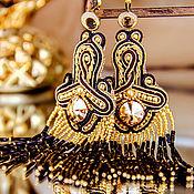 Украшения handmade. Livemaster - original item Soutache earrings. Mystery. bead earrings. long earrings beaded. Handmade.