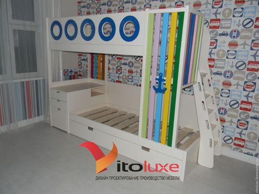 Детская ручной работы. Ярмарка Мастеров - ручная работа. Купить Двухъярусная кровать. Handmade. Комбинированный, кровать на заказ, кровать из массива