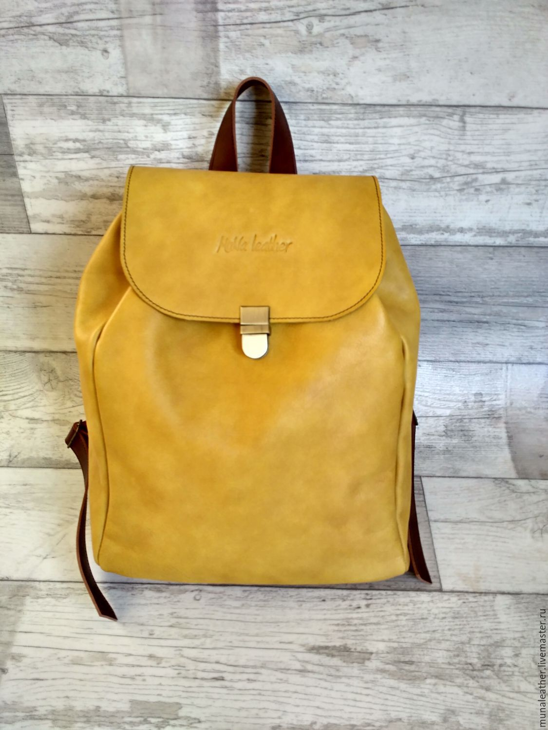 Leather backpack with cord Yellow, Backpacks, Moscow,  Фото №1
