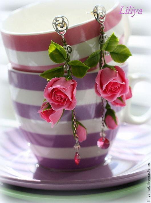 """Серьги ручной работы. Ярмарка Мастеров - ручная работа. Купить Серьги с бутонами роз """"Соблазн"""". Handmade. Розовый, розовые розы"""