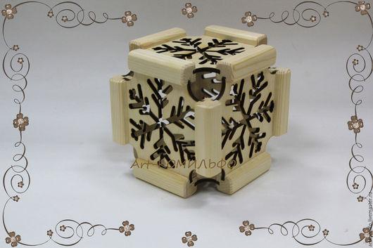 Декупаж и роспись ручной работы. Ярмарка Мастеров - ручная работа. Купить Интерьерная новогодняя игрушка кубик. Handmade. Бежевый