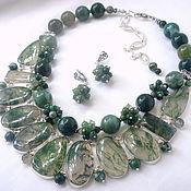Украшения handmade. Livemaster - original item Necklace 2 strands and Earrings - MOSS AGATE beads.. Handmade.