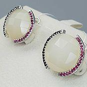Украшения handmade. Livemaster - original item Silver earrings with sapphire, ruby and quartz. Handmade.