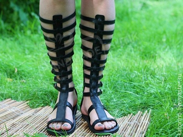 Copy of Greek Sandals lace-up leather and Python Black, Sandals, Moscow,  Фото №1