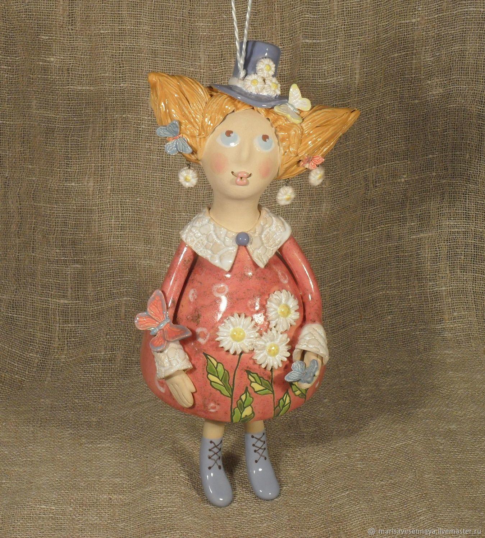 Doll ceramic Girl in daisies, Dolls, Smolensk,  Фото №1