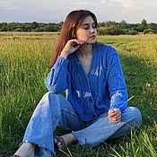 Одежда handmade. Livemaster - original item cardigans: Women`s short cardigan made of sky-colored cotton with buttons. Handmade.