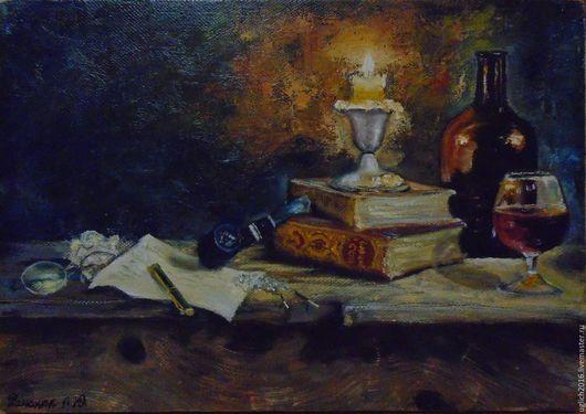 Натюрморт ручной работы. Ярмарка Мастеров - ручная работа. Купить Натюрморт  при свете свечи. Handmade. Картина маслом, натюрморт