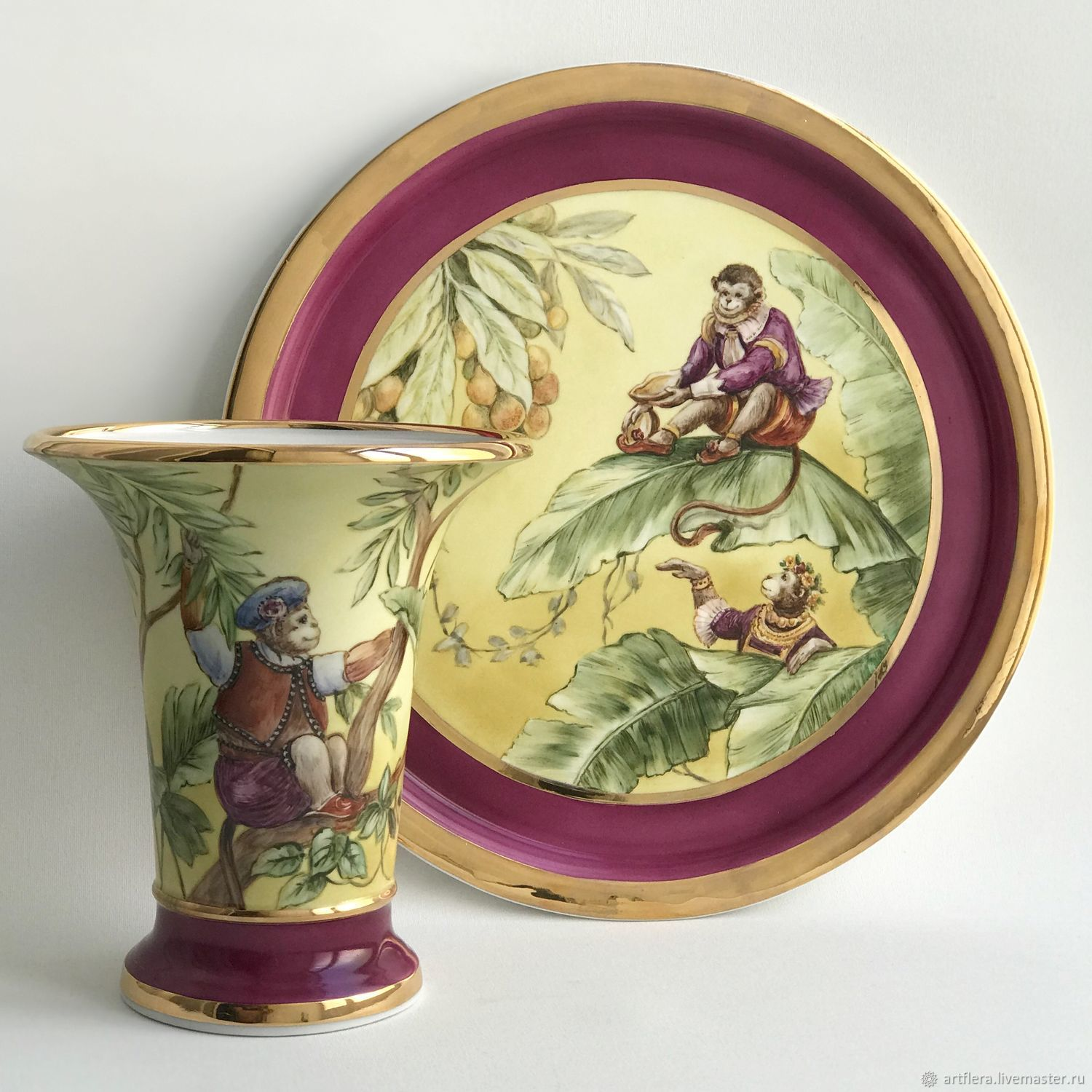 Porcelain painting Large dish and chinoiserie Vase. Purple and gold, Plates, Kazan,  Фото №1