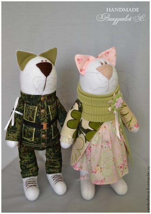 Игрушки животные, ручной работы. Ярмарка Мастеров - ручная работа. Купить Пара котиков №2. Handmade. Зеленый, подарок женщине