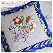Для дома и интерьера ручной работы. Ярмарка Мастеров - ручная работа Подушка декоративная текстильная / пэчворк / вышивка. Handmade.